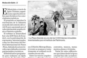 El Municipio, a través de Quito Turismo, organiza una capacitación online para fortalecer los conocimientos turísticos.